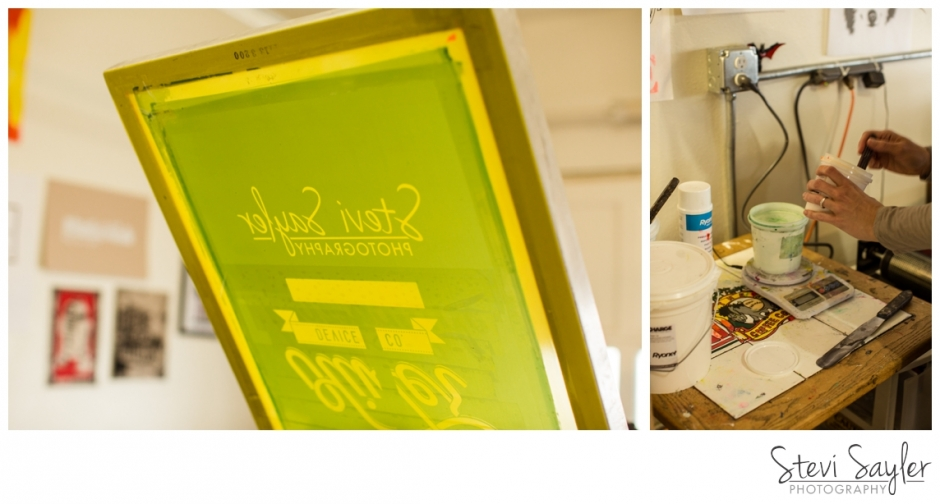 Stevi Sayler Photography - Threadbare Print House Screen Printing with my Logo