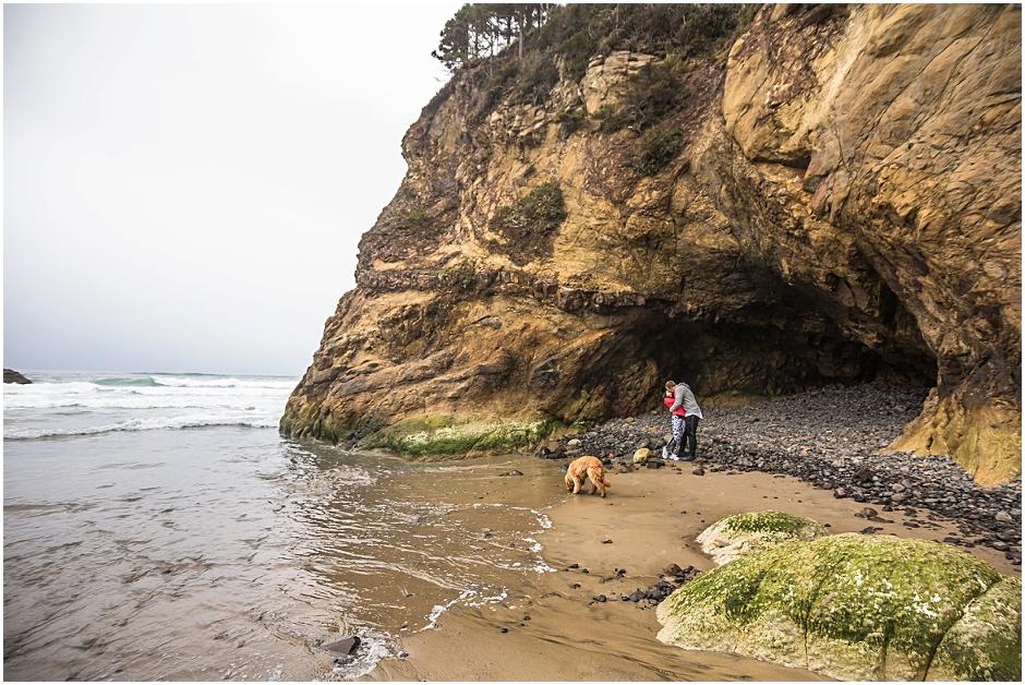 Hug Point Cannon Beach Oregon Coast Photoshoot Annalise Dustin Copper