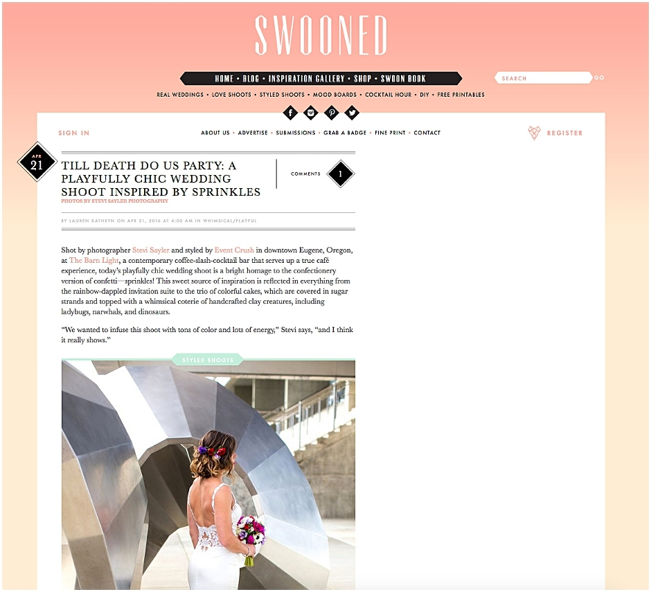 Swooned Wedding Blog - Styled Wedding Shoot Feature - Sprinkles Inspired Photoshoot